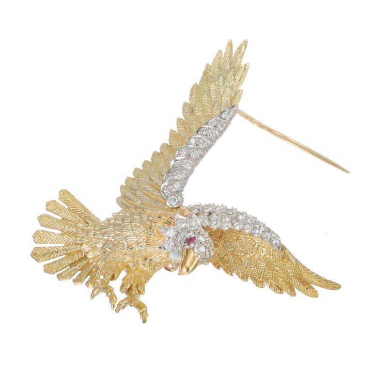 Herbert Rosenthal 18k yellow gold and platinum diamond ruby Eagle brooch. Signed H.R #93  53 round brilliant cut diamonds G-H VS, approx. .62cts 1 round red ruby .5ct Platinum 18k yellow gold  Stamped: 18k PLAT Hallmark: HR #93 21.0 grams Top to