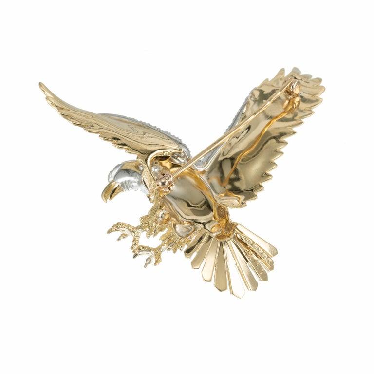 Round Cut Herbert Rosenthal .62 Carat Diamond Ruby Yellow Gold Platinum Eagle Brooch For Sale
