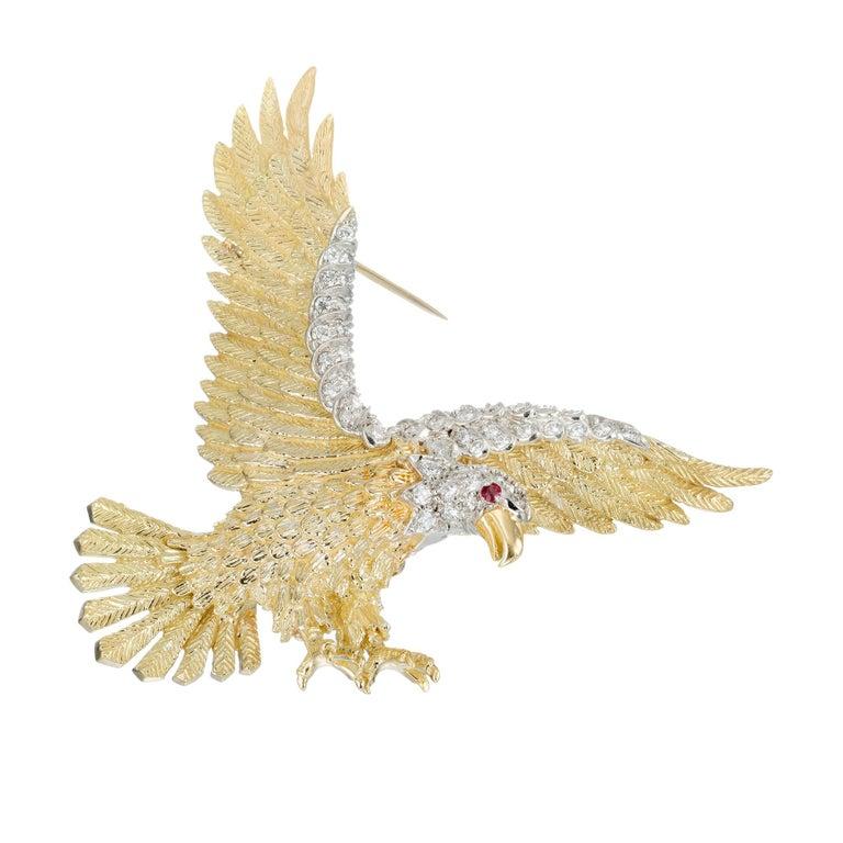 Herbert Rosenthal .62 Carat Diamond Ruby Yellow Gold Platinum Eagle Brooch For Sale