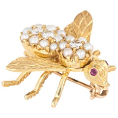 Herbert Rosenthal Bee Brooch Pin Pearl Diamond Vintage 18 Karat Gold Jewelry