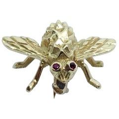 Herbert Rosenthal Bee Pin, 18 Karat Yellow Gold with Ruby Eyes