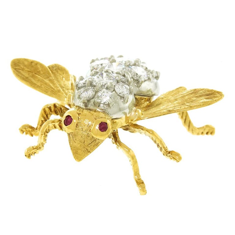 Herbert Rosenthal Diamond Bee Pin In Excellent Condition For Sale In Litchfield, CT