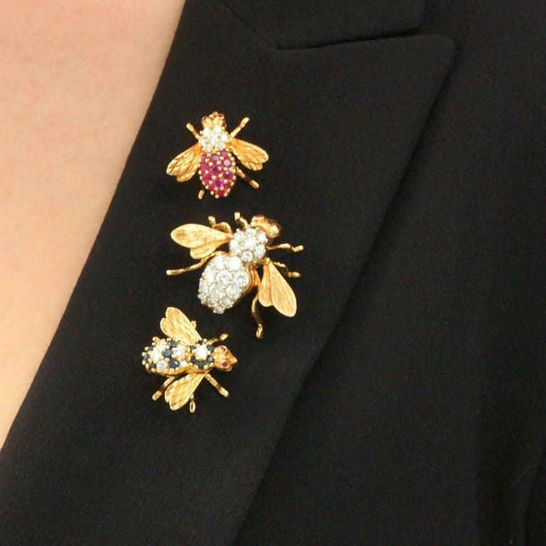 Women's or Men's Herbert Rosenthal Diamond Bee Pin For Sale
