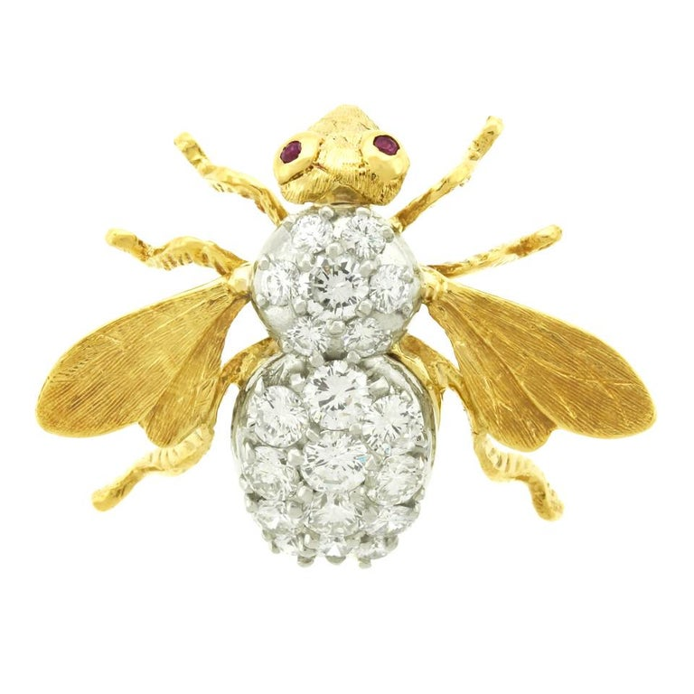 Herbert Rosenthal Diamond Bee Pin For Sale 4