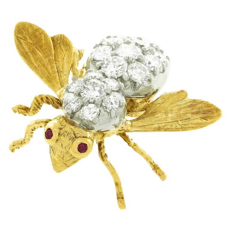 Herbert Rosenthal Diamond Bee Pin For Sale