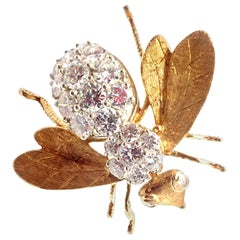 Herbert Rosenthal Diamond Extra Large Gold Bee Pin Brooch