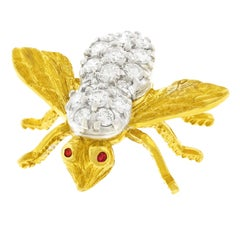 Herbert Rosenthal Diamond Set Gold Bee Brooch