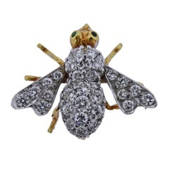 Herbert Rosenthal Gold All Diamond Emerald Bee Brooch
