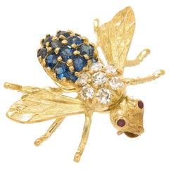 Herbert Rosenthal Iconic Sapphire Diamond and Yellow Gold Bee Brooch