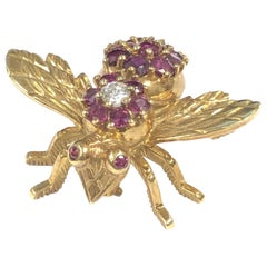 Herbert Rosenthal Large Gold Ruby and Diamond Iconic Bee Brooch