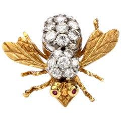 Herbert Rosenthal Vintage Large Diamond and Ruby Bee Brooch Pin
