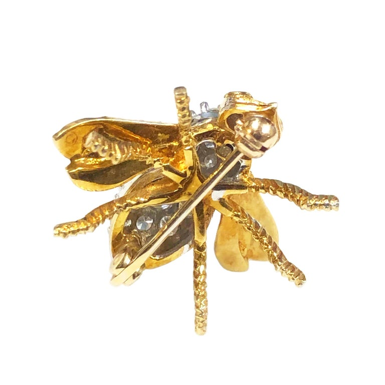 Women's Herbert Rosenthal Yellow Gold and Diamond Bee Brooch For Sale