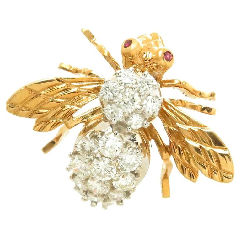 Herbert Rosenthal Yellow Gold and Diamond Bee Brooch For Sale
