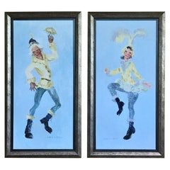 Herbert S. Wyllie New Jersey Artist, Pai of Circus Performers Oil/Bd