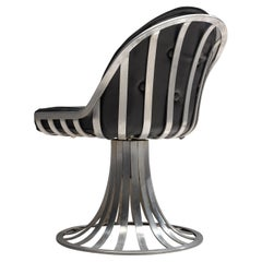 Herbert Saiger Dining Chair in Black Upholstery and Aluminum