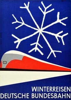 Original Vintage Poster German Federal Railways Winter Travel Mid Century Modern