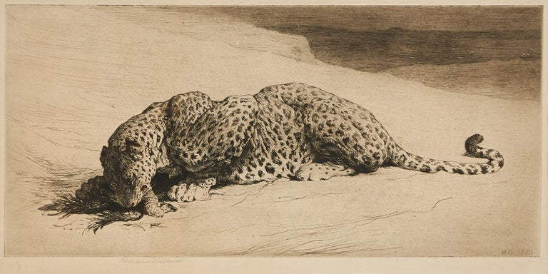 Herbert Thomas Dicksee (1862-1942), 'Leopard with Jungle Fowl', etching, signed in pencil, dated 1920, with label stating original artist's proof, framed.
