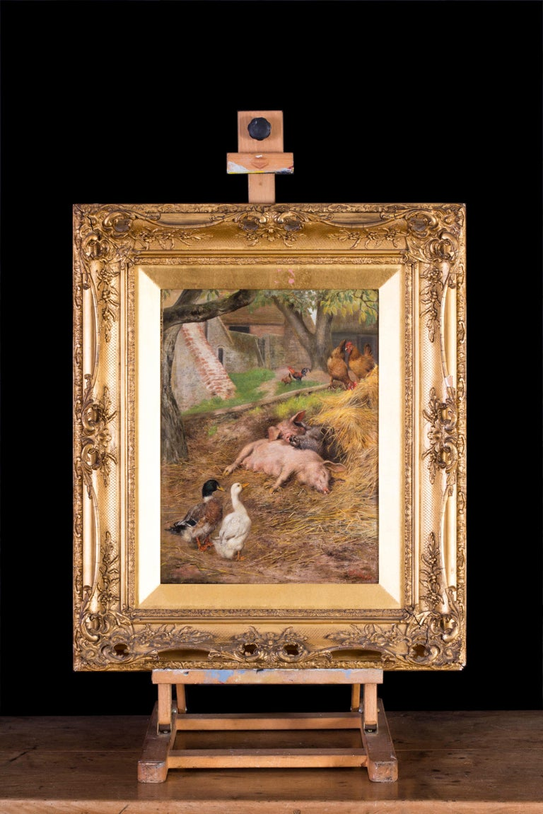 Pigs slumbering amongst ducks and chickens - Victorian Painting by Herbert William Weekes