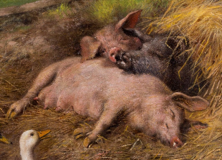 Pigs slumbering amongst ducks and chickens - Brown Animal Painting by Herbert William Weekes