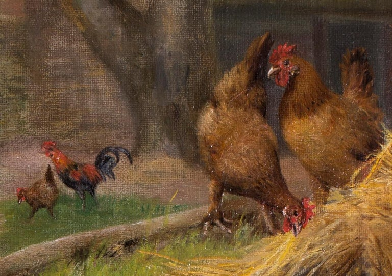 Herbert William Weekes (British, 1841 – 1914) Pigs slumbering amongst ducks and chickens Oil on canvas 16 x 12 in. (40.7 x 30.5 cm.) Signed 'W Weekes' (lower right)  Herbert William Weekes was a well known English genre and animal painter of the
