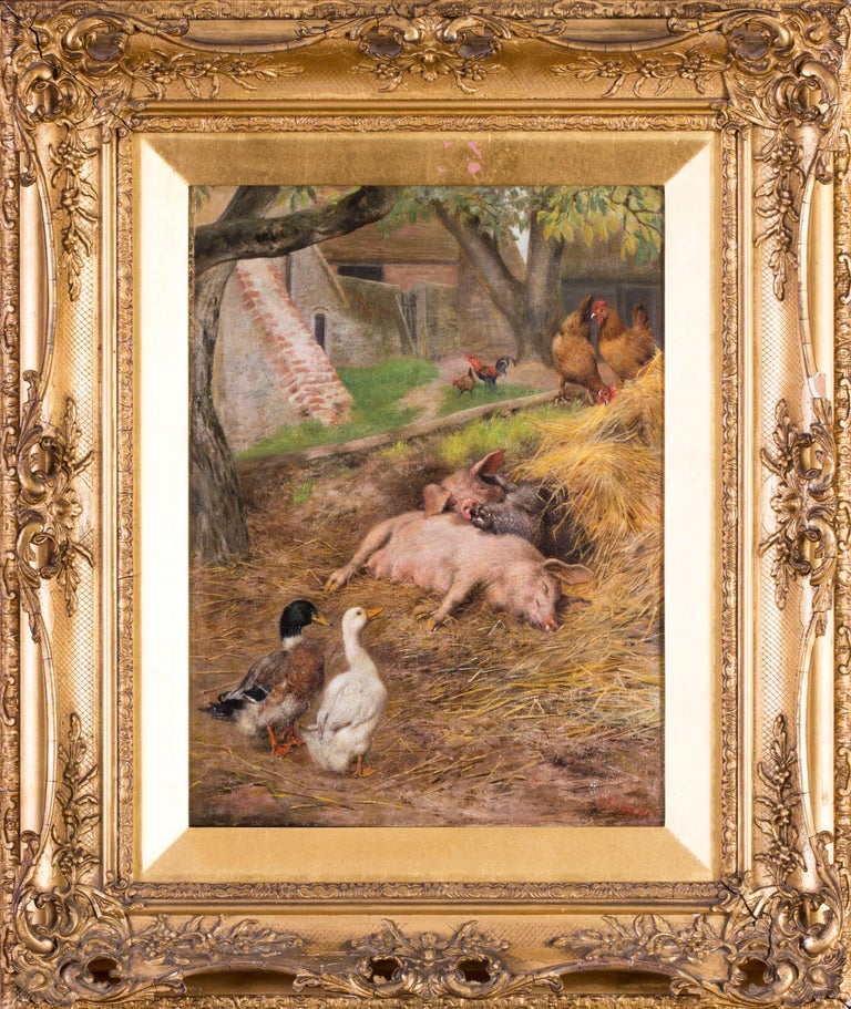 Herbert William Weekes Animal Painting - Pigs slumbering amongst ducks and chickens
