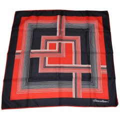 "Hercolani Red White & Navy ""Abstract Squares"" Scarf"