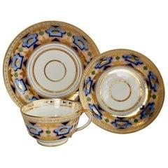 Herculaneum Porcelain Teacup Trio, Blue and Gilt Regency, 1800-1815