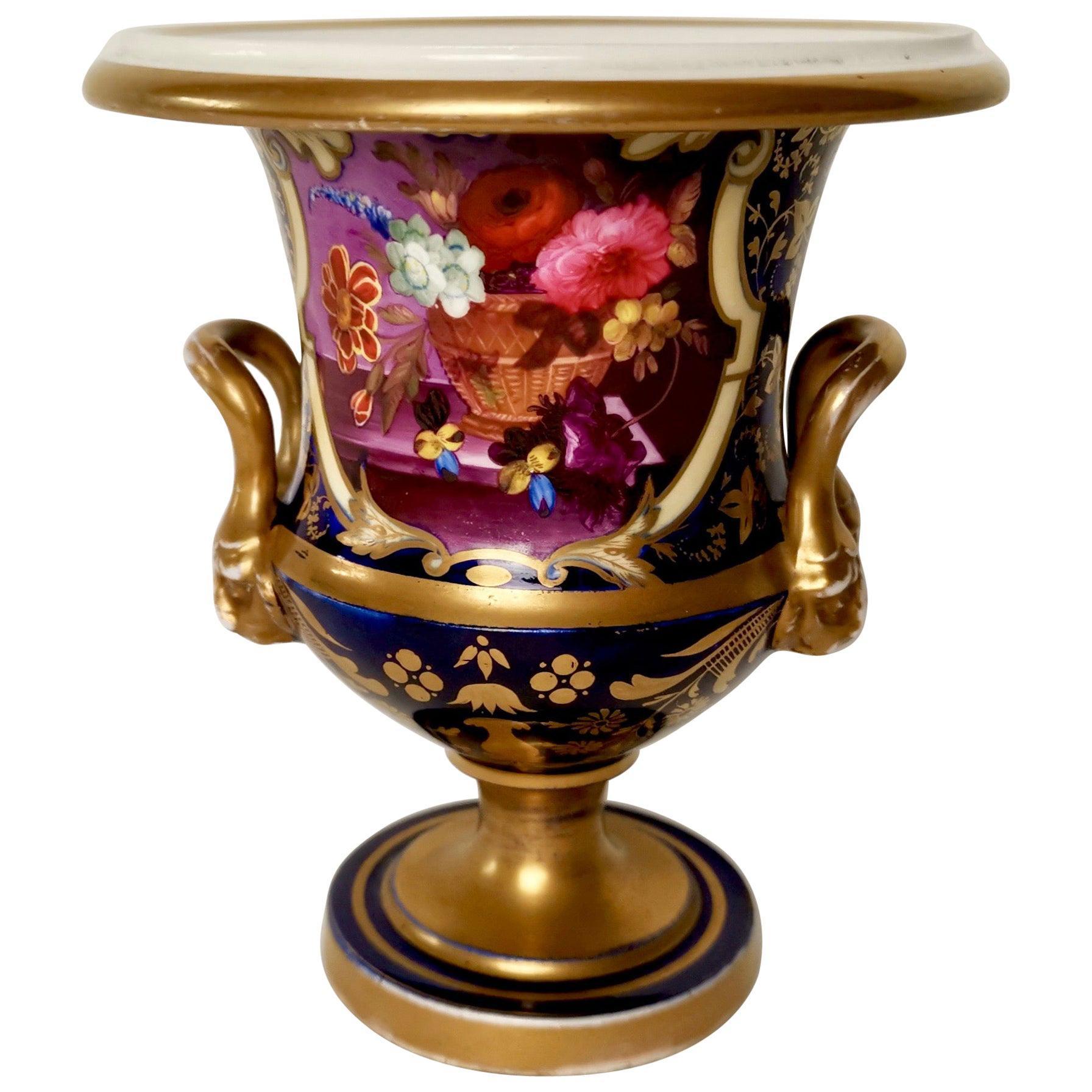 Herculaneum Porcelain Vase, Purple, Flowers Lion Head Handles Regency circa 1820