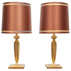 Herda Brass Table Lamps, Holland, 1970s