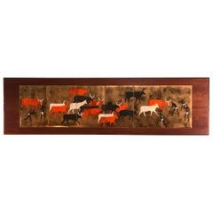 Herding Tribal Enamel on Copper on Teak Wood Attributed to Judith Danner