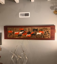 Herding Tribal Enamel on Copper on Teak Wood Attributed to Judith Danner