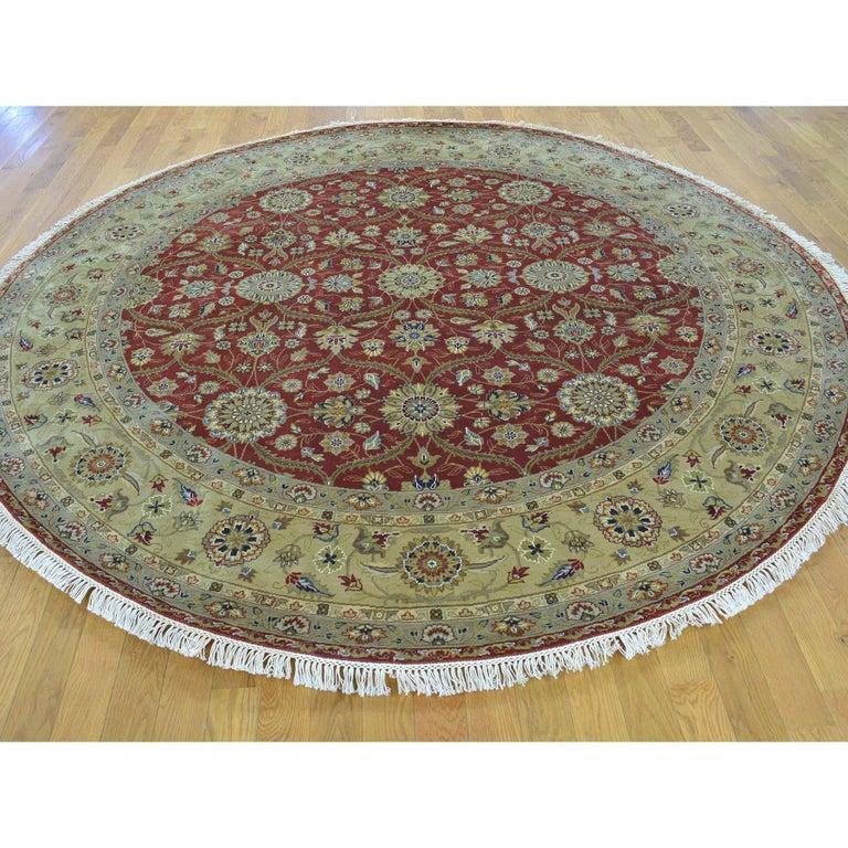 Hereke design 300 KPSI round wool and silk hand knotted Oriental rug. Measures: 8'0