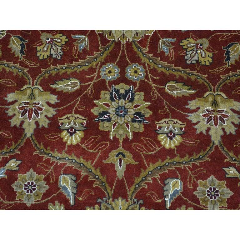 Afghan Hereke Design 300 KPSI Round Wool and Silk Hand Knotted Oriental Rug For Sale