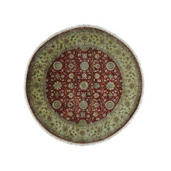 Hereke Design 300 KPSI Round Wool and Silk Hand Knotted Oriental Rug