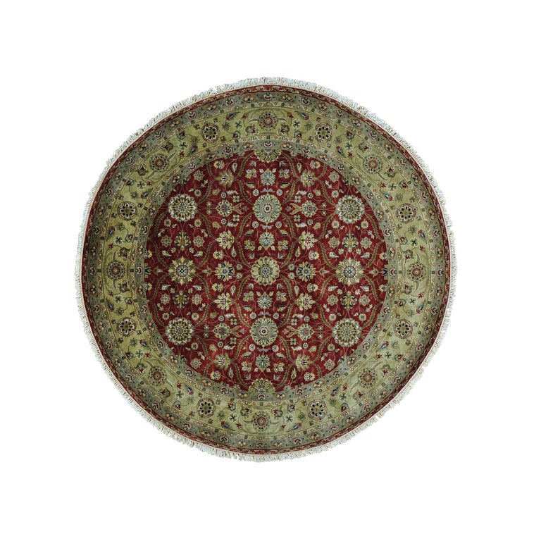 Hereke Design 300 KPSI Round Wool and Silk Hand Knotted Oriental Rug For Sale