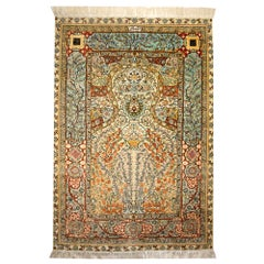 Hereke Design Silk Prayer Souf Rug with Tree of Life and Pomegranates