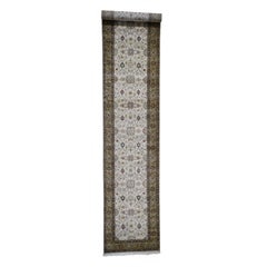 Hereke Design Wool and Silk 300 Kpsi Hand Knotted Extra Large Runner Rug