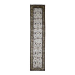 Hereke Design Wool and Silk 300 Kpsi Hand Knotted Runner Oriental Rug