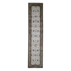 Hereke Design Wool And Silk 300 Kpsi Hand Knotted Runner Rug