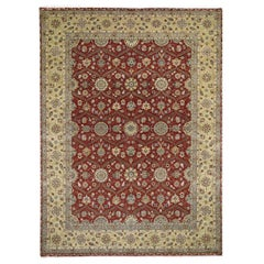 Hereke Design Wool and Silk Hand Knotted 300 Kpsi Oriental Rug