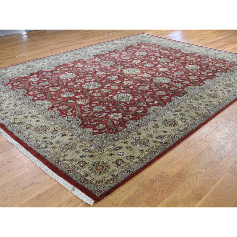 Afghan Hereke Design Wool and Silk Hand Knotted 300 Kpsi Oriental Rug For Sale