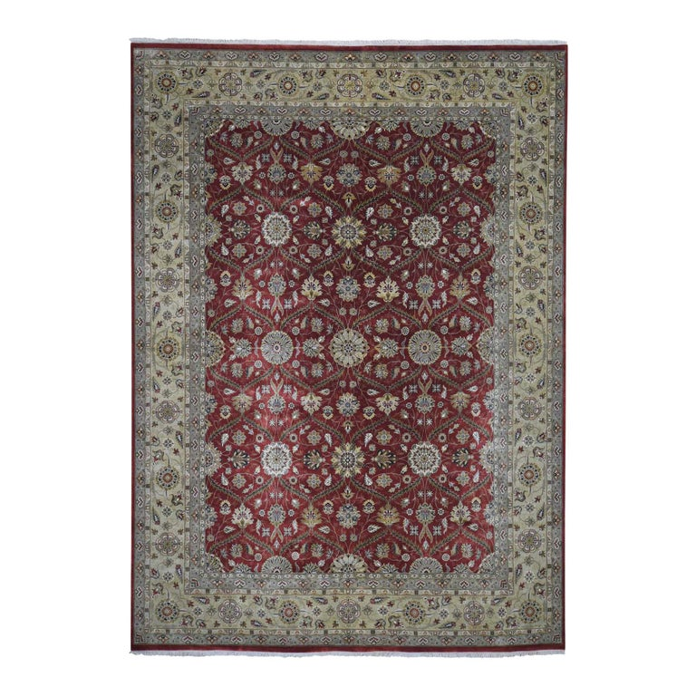 Hereke Design Wool and Silk Hand Knotted 300 Kpsi Oriental Rug For Sale