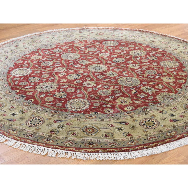 Afghan Hereke Design Wool and Silk Hand Knotted 300 Kpsi Round Oriental Rug For Sale