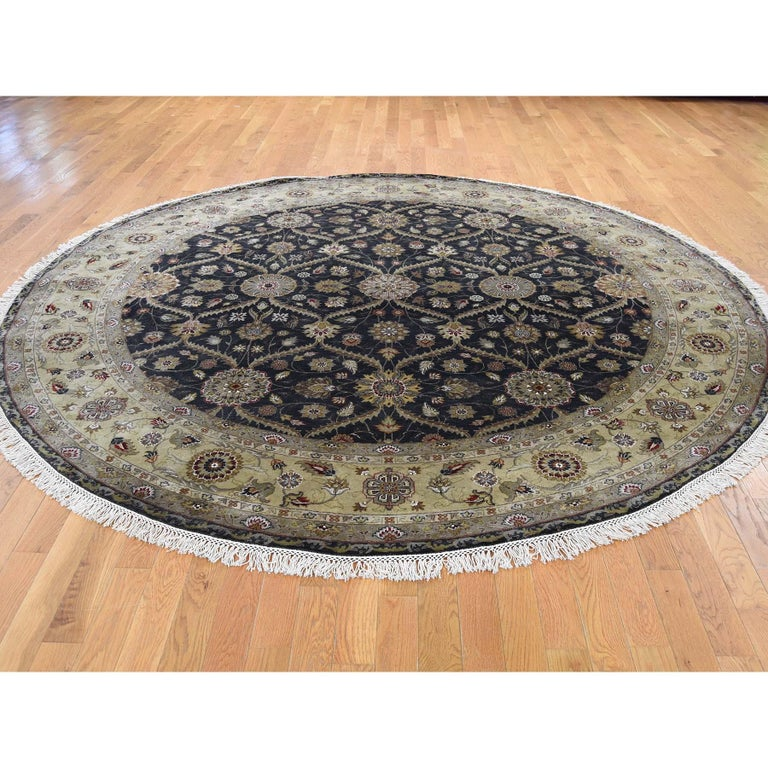 Other Hereke Design Wool and Silk Hand Knotted 300 Kpsi Round Oriental Rug For Sale