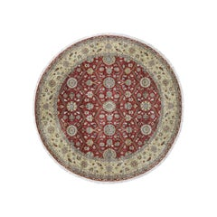 Hereke Design Wool and Silk Hand Knotted 300 Kpsi Round Oriental Rug