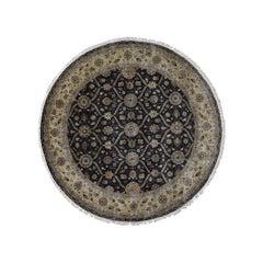 Hereke Design Wool and Silk Hand Knotted 300 Kpsi Round Oriental Rug