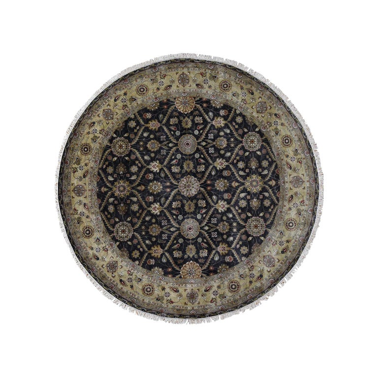 Hereke Design Wool and Silk Hand Knotted 300 Kpsi Round Oriental Rug For Sale