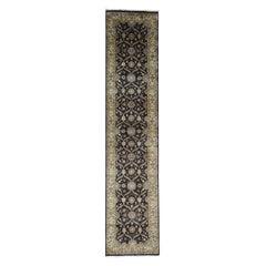 Hereke Design Wool and Silk Hand Knotted 300 Kpsi Runner Rug