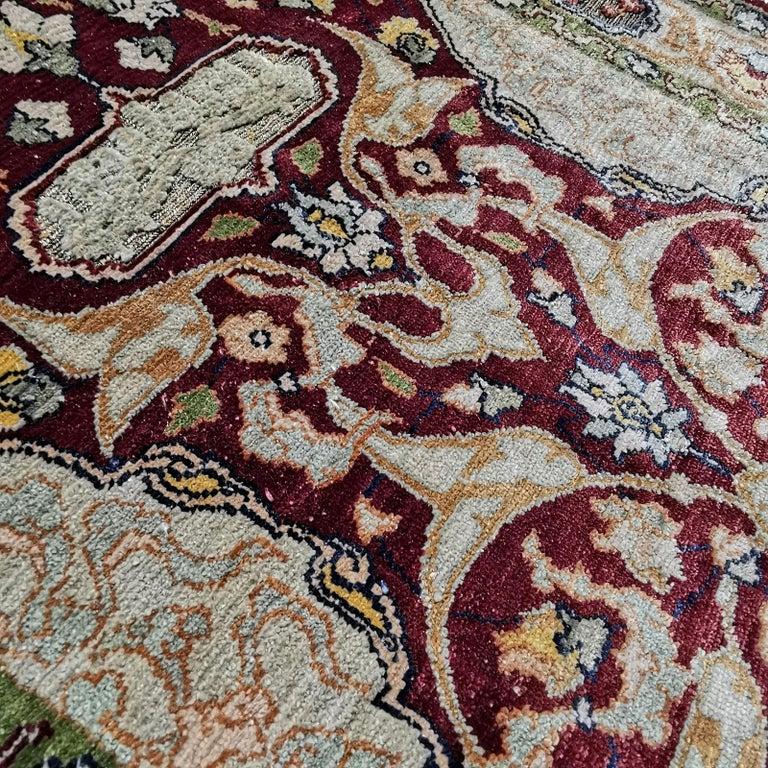 Hereke Pure Silk Turkish Prayer Rug with Golden Metal Threats Souf For Sale 4