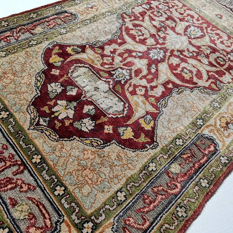 Hereke Pure Silk Turkish Prayer Rug with Golden Metal Threats Souf For Sale 5